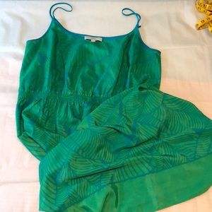 LOFT Green Blue Palm Leaf Print Dress